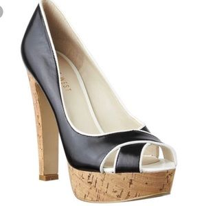 "Nine West ""Colour Code"" PeepToe Cork Heel Size 7.5"